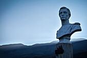 marble stone bust at Ricaurte Park, Villa de Leyva, Departamento Boyacá, Colombia, South America