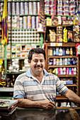portrait of Colombian sales clerk in Barichara, Departmento Santander, Colombia, Southamerica
