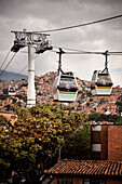 cable cars as part of public transportation connecting the slums of Medellin, Departmento Antioquia, Colombia, Southamerica