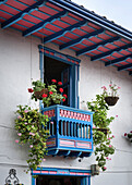 colourful balcony in colonial style, Salento, UNESCO World Heritage Coffee Triangle, Departmento Quindio, Colombia, Southamerica