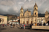 Cathedral of Colombia at Bolivar square, view towards Monserate, capital Bogota, Departmento Cundinamarca, Colombia, Southamerica