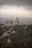 view from cable car at downtown with skyscapers, capital Bogota, Departmento Cundinamarca, Colombia, Southamerica