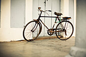 Old Bicycle, Sidewalk, City, Vinales, Pinar del Rio, Cuba, Caribbean, Latin America, America