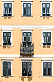 House facade, Old Town, Rovereto, Trentino-South Tyrol, Italy