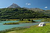 Lake Zeinissee, Mt. Ballunspitze, clear sky, tent, Bludenz, Vorarlberg, Austria, Europe