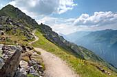 Mt. Hochjoch, footpath, Verwall, Montafon, Bludenz, Vorarlberg, Austria, Europe