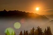 Rätikon, mountain range, sunset, glider, lens flare, Bludenz, Vorarlberg, Austria, Europe
