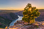 sunset at the Red River in the Flaming Gorge National Recreation Area, Utah USA
