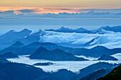 Fog pulls over Mangfall Mountains and Chiemgau Alps, from Hochmiesing, Hochmiesing, Mangfall Mountains, Bavarian Alps, Upper Bavaria, Bavaria, Germany