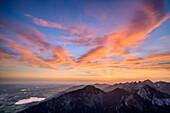 Wolkenstimmung bei Sonnenaufgang über Ammergauer Alpen, vom Säuling, Ammergebirge, Ammergauer Alpen, Oberbayern, Bayern, Deutschland