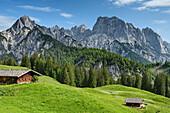 Two alpine huts with rock summits of Reiteralm in background, Berchtesgaden Alps, Salzburg, Austria