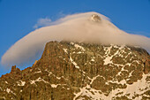 Summit of Monviso covered in a cloud, at Viso Mozzo, Giro di Monviso, Monte Viso, Monviso, Cottian Alps, Piedmont, Italy