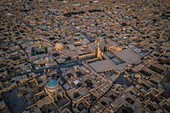Friday mosque of Yazd from above, Iran, Asia
