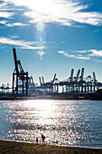Elbe beach and container port Burchardkai, Hamburg, Germany