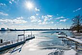 Frozen Außenalster, landing stage Rabenstrasse, Hamburg, Germany