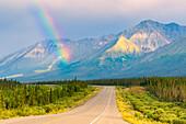 rainbow above Kluane Lake, Yukon Territory, Canada