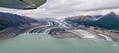 Aerial view of the Lowell glacier, Kluane National Parc, Yukon Territories, Canada