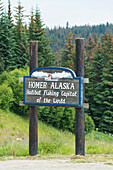 Sign at the outskirts of Homer, Kenai peninsular, Alaska, USA