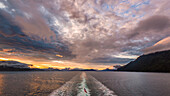 sunset on the inside passage close to Vancouver Island, Canada
