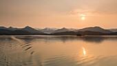 Auke Bay and Juneau during midnight sun, Alaska, USA