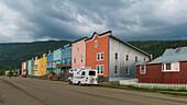 colorful facades of Dawson City, Yukon Territory, Canada
