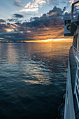 sunset on the inside passage near the city of Bellingham, Washington State, USA