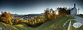 panoramic view from Kalvarienberg tu Bad Toelz and River Isar, Bad Toelz, bavaria, germany