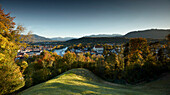 view from Kalvarienberg to Bad Toelz and River Isar, river Isar, bavaria, germany