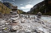 Stone towers, River Isar, river Isar, hinterau valley, Karwendel mountains, Tyrol, Austria