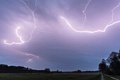 Thunderstorms and lightning over the landscape of the Spreewald