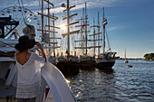 Traditional sailer in the town harbor to the Hanse Sail, Hanseatic city of Rostock, Mecklenburg-Western Pomerania, Germany