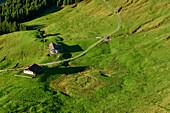 View towards two alpine huts, from Karkopf, Chiemgau Alps, Upper Bavaria, Bavaria, Germany