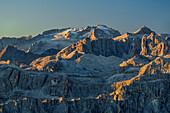 Marmolada and Sella Group with Piz Boe at sunrise, from Peitlerkofel, Dolomites, UNESCO World Heritage Site Dolomites, South Tyrol, Italy