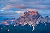 Monte Pelmo at sunrise in clouds, from Antelao, Dolomites, UNESCO World Heritage Site Dolomites, Venetia, Italy