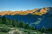 View to Katzenkofel, Hirbernock and Durreck, from hut Unterholzer Huette, Holzerboeden, valley of Ahrntal, Zillertal Alps, South Tyrol, Italy