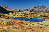 Mountain lake with Grosser Moosstock and Durreck in background, valley of Reinbachtal, Rieserferner Group, South Tyrol, Italy