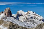 Schwabenalpenkopf, Hochebenkofel and Mitterebenkofel, from Paternsattel, Tre Cime, Sexten Dolomites, Dolomites, UNESCO World Heritage Site Dolomites, Venetia, Italy