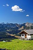 Alpine hut at Demeljoch with view to Karwendel, Demeljoch, Karwendel, Upper Bavaria, Bavaria, Germany