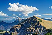 Blick auf Guffert und Juifen, vom Demeljoch, Karwendel, Oberbayern, Bayern, Deutschland