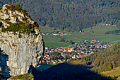 View down to Zwoelferkopf and center of Aschau, from Gedererwand, Kampenwand, Chiemgau Alps, Chiemgau, Upper Bavaria, Bavaria, Germany