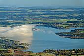 Lake Chiemsee partly in clouds, from Gedererwand, Kampenwand, Chiemgau Alps, Chiemgau, Upper Bavaria, Bavaria, Germany