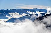 Mood of fog over Karwendel range, Seebergspitze, Karwendel range, Tyrol, Austria