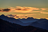 Clouds above Wallberg and Hirschberg at sunset, Farrenpoint, Bavarian Alps, Upper Bavaria, Bavaria, Germany