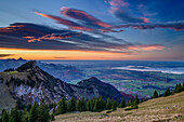 Mood of clouds above Chiemgau Alps and lake Chiemsee, Hochgern, Chiemgau Alps, Upper Bavaria, Bavaria, Germany
