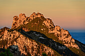 Kampenwand in alpenglow, Hochplatte, Chiemgau Alps, Upper Bavaria, Bavaria, Germany