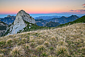 Ruchenkoepfe with Wendelstein and Earth's shadow in background, Ruchenkoepfe, Spitzing area, Mangfall Mountains, Bavarian Alps, Upper Bavaria, Bavaria, Germany