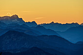 Sunset with silhouettes of Zugspitze, Daniel and Thaneller, from Spitzing area, Mangfall Mountains, Bavarian Alps, Upper Bavaria, Bavaria, Germany