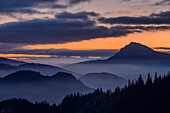 Silhouettes of Zwiesel and Chiemgau Alps at dawn, from Hochfelln, Chiemgau Alps, Upper Bavaria, Bavaria, Germany