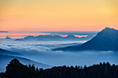 Silhouettes of Traunstein, Hoellengebirge range, Salzkammergut and Zwiesel at dawn, from Hochfelln, Chiemgau Alps, Upper Bavaria, Bavaria, Germany