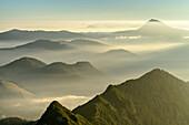 Mood of fog beneath Chiemgau Alps with Zwiesel, from Hochfelln, Chiemgau Alps, Upper Bavaria, Bavaria, Germany